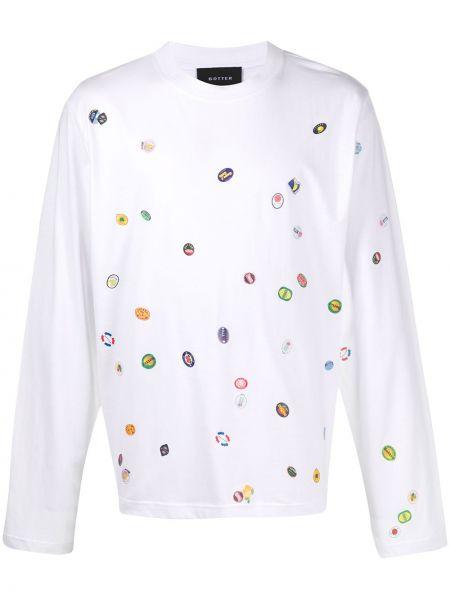 Biały t-shirt z długimi rękawami bawełniany Botter
