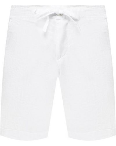 Шорты с карманами - белые 120% Lino
