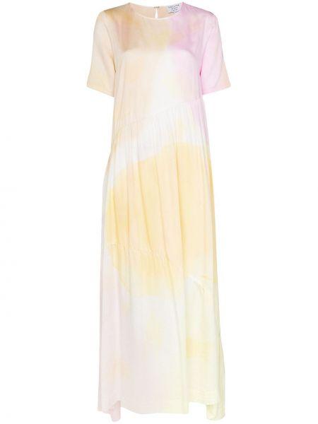 Sukienka długa z jedwabiu - różowa Collina Strada