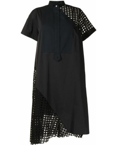 С рукавами черное платье мини с сеткой Sacai