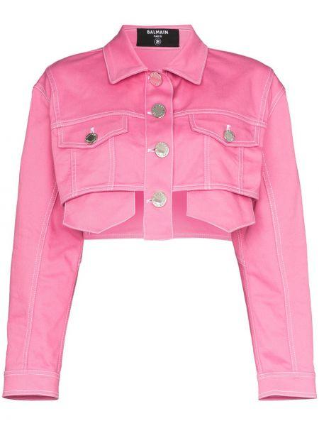 Джинсовая куртка розовая на пуговицах Balmain