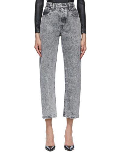 Серебряные укороченные джинсы стрейч с заплатками в стиле бохо Alexander Wang