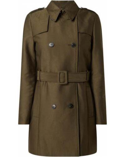 Zielony trencz bawełniany z paskiem Esprit Collection