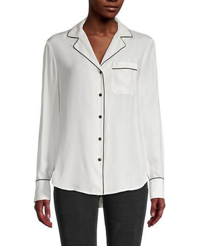 Biała koszula z długimi rękawami z jedwabiu Rag & Bone