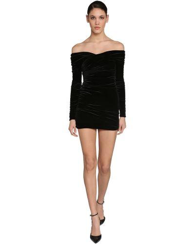 Czarna sukienka mini z długimi rękawami z aksamitu Alexandre Vauthier