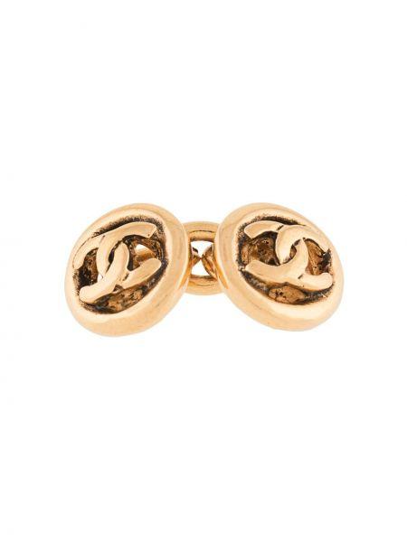Золотистые запонки золотые позолоченные Chanel Pre-owned
