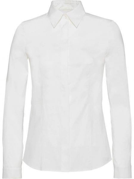 С рукавами белая приталенная классическая рубашка с воротником Prada