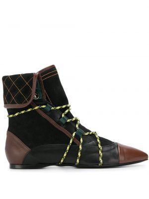 Czarne ankle boots skorzane Carven