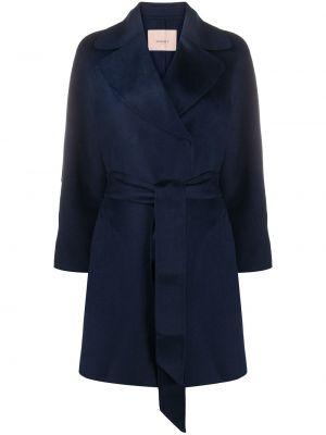 Długi płaszcz wełniany - niebieski Twin Set