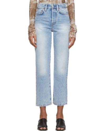 Prosto skórzany niebieski jeansy do kostek z kieszeniami Acne Studios
