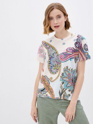 Бежевая футболка с короткими рукавами Desigual