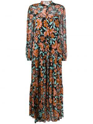 Черное шелковое платье на пуговицах с воротником Dvf Diane Von Furstenberg