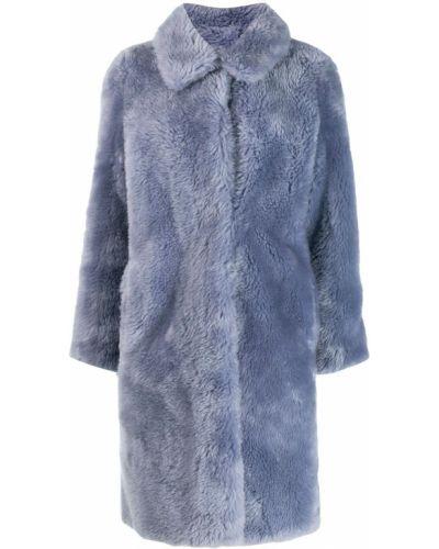 Синее шерстяное длинное пальто с воротником Yves Salomon Meteo