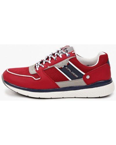 Красные кожаные кроссовки X-plode
