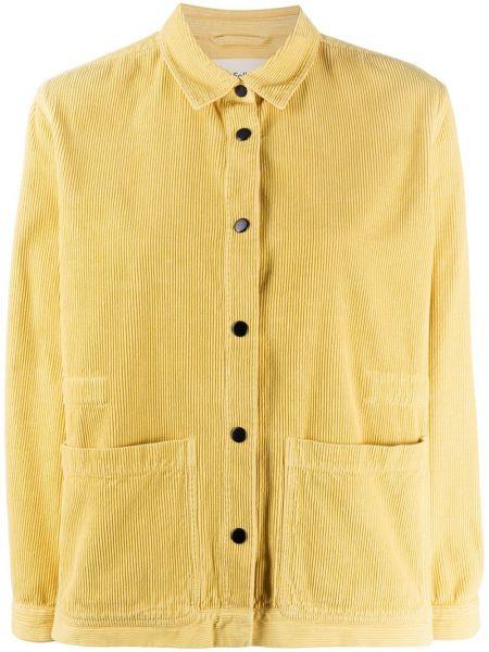 С рукавами желтая куртка вельветовая Folk