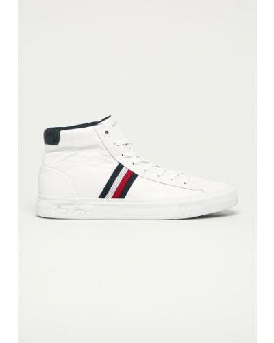 Białe sneakersy skorzane sznurowane Tommy Hilfiger