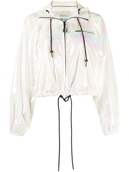 Белая короткая куртка на молнии с воротником Kenzo