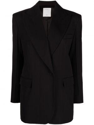 Хлопковый черный удлиненный пиджак на пуговицах Sandro Paris