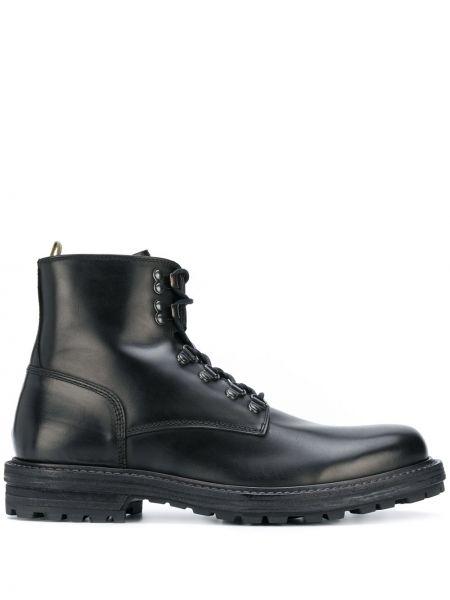 Czarny buty skórzane zasznurować z prawdziwej skóry okrągły Officine Creative