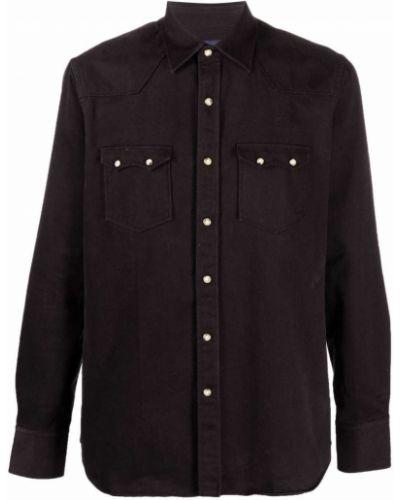 Czarna klasyczna koszula Lardini