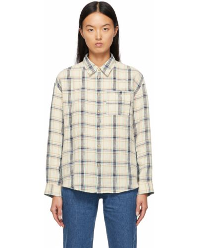 Льняная рубашка с длинным рукавом - бежевая A.p.c.