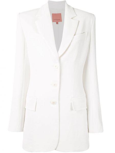 Однобортный приталенный белый удлиненный пиджак Manning Cartell