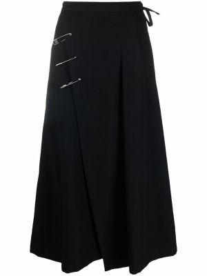 Шерстяная юбка миди - черная Yohji Yamamoto