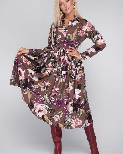 Летнее платье миди на пуговицах Leleya