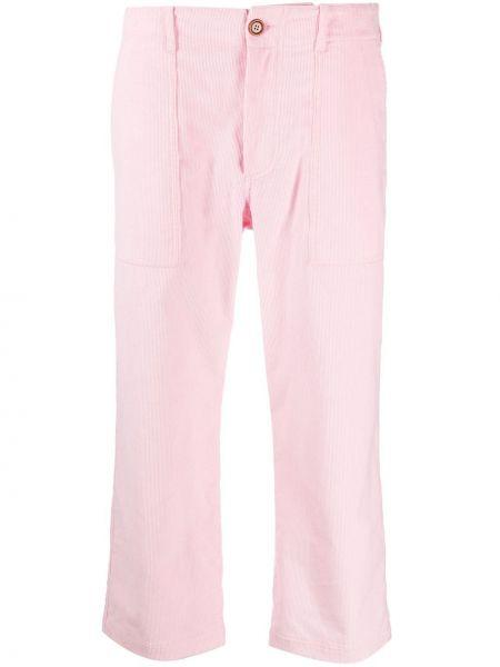 Хлопковые прямые розовые укороченные джинсы с карманами Jejia