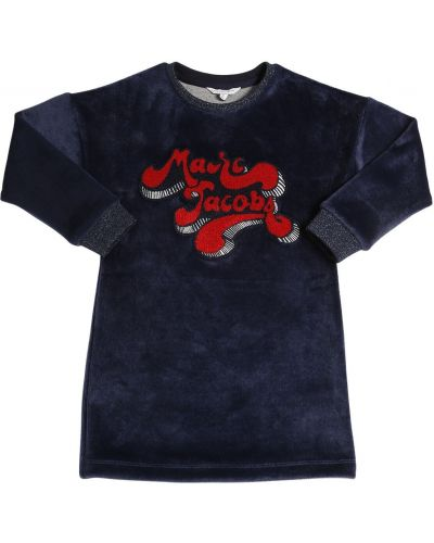 Синее платье макси с воротником Little Marc Jacobs