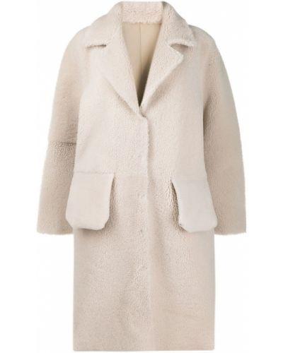 Кожаное коралловое длинное пальто с воротником Frenken