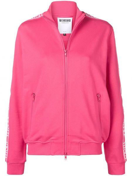 Розовая спортивная куртка на молнии с воротником с карманами Versus