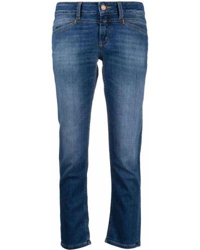 Прямые синие зауженные укороченные джинсы Closed