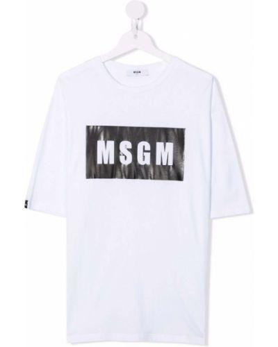 Biała t-shirt krótki rękaw Msgm Kids