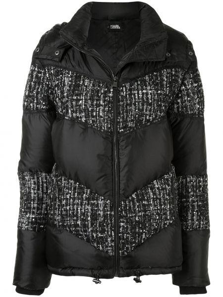 Пуховик с воротником с карманами твидовый на молнии Karl Lagerfeld