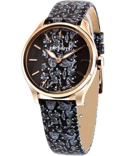 Водонепроницаемые часы черные на кожаном ремешке Cacharel