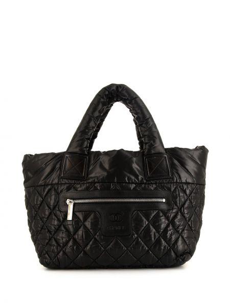 Кожаная черная сумка шоппер на молнии с карманами Chanel Pre-owned