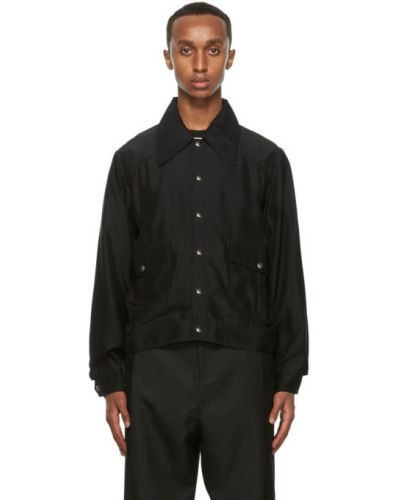 Черная длинная куртка с манжетами с карманами с воротником Second/layer