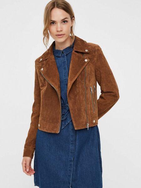 Кожаная куртка весенняя коричневая Vero Moda