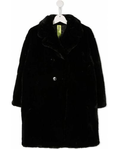 Черная с рукавами длинная шуба из искусственного меха Too Cool For Fur Kids