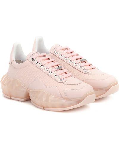С ромбами розовые кожаные кроссовки из натуральной кожи с бриллиантом Jimmy Choo