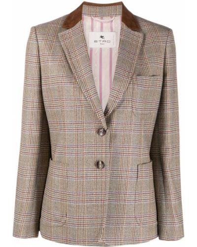 Кожаный коричневый удлиненный пиджак в клетку Etro