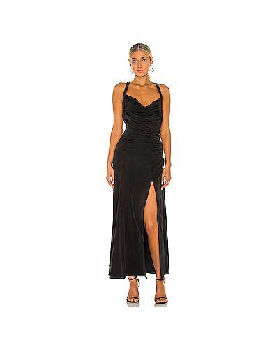 Черное платье макси с подкладкой с разрезом For Love & Lemons