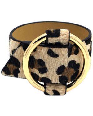 Кожаный браслет бежевый золотой Evora