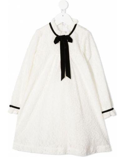 Прямое ажурное платье макси с длинными рукавами с воротником Tartine Et Chocolat