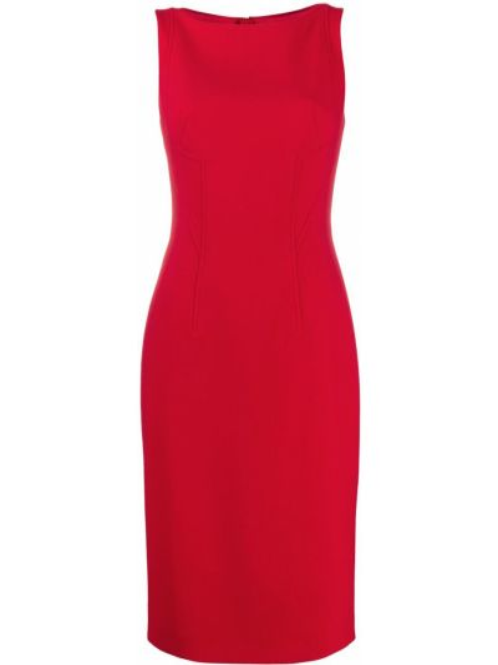 Красное приталенное платье без рукавов круглое Paule Ka