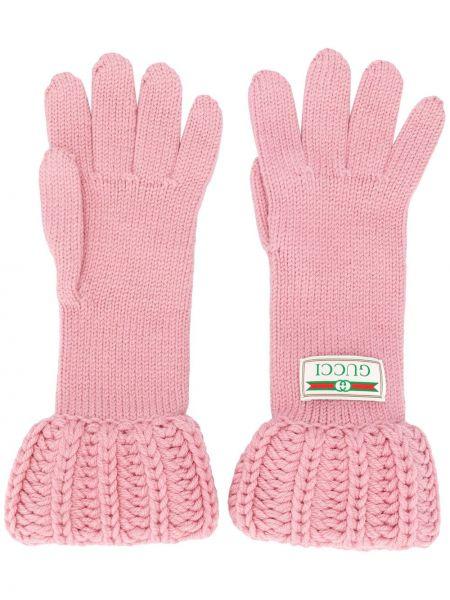 Шерстяные перчатки - розовые Gucci