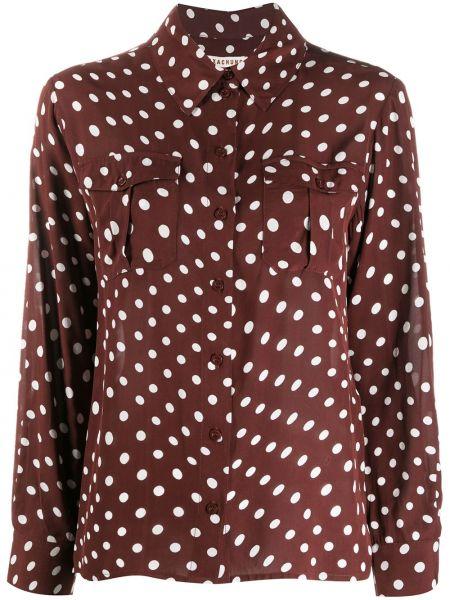 Коричневая классическая рубашка с воротником с манжетами на пуговицах Alexa Chung