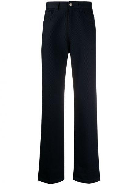 Prążkowane niebieskie spodnie wełniane Ami