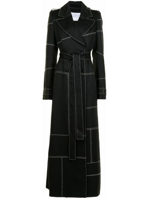 Czarny długi płaszcz rozkloszowany materiałowy Gabriela Hearst